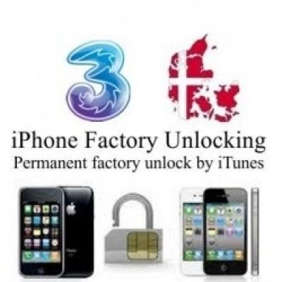 iPhone 4 4S 5 5C 5S 6 6+ 3 HUTCHISON DENMARK (blokuotas ir neblokuotas IMEI) oficialus gamyklinis atrišimas per 1-12 h